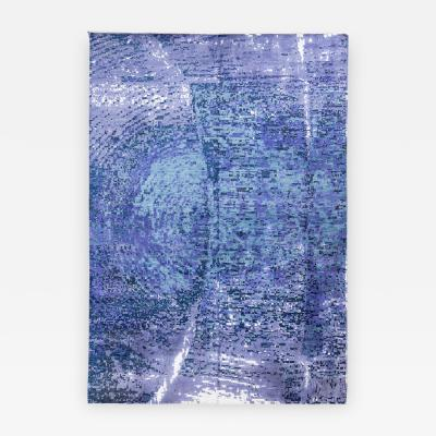 Handmade Contemporary Silk and Wool Rug in Blue and Purple Shades