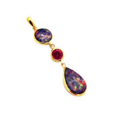 Handmade Natural Australian Fiery Opal and Rubellite Pink Tourmaline 18KT