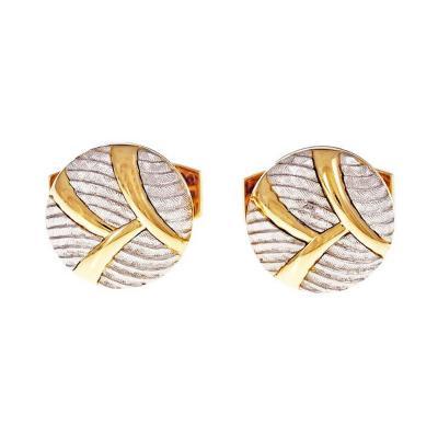 Handmade Round Button Style Gold Platinum Cufflinks