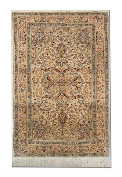 Handmade Turkish Hereke Pure Silk Rug Cream Silk Oriental Carpet