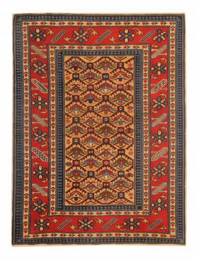 Handmade Vintage Shirvan Rug Oriental Red wool Area Rug 93x126cm