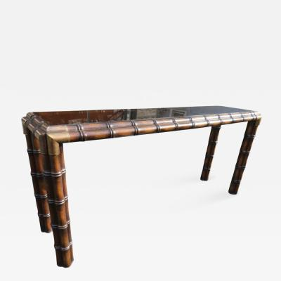 Handsome Chunky Faux Bamboo Campaign Style Console Table Mid Century Modern