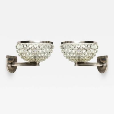 Handsome Pair of Crystal and Nickel Sconces