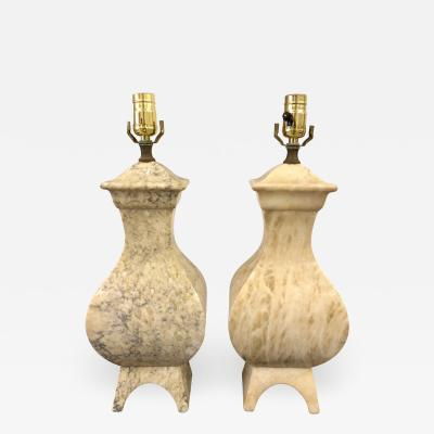 Handsome Pair of Italian Marble Lamps