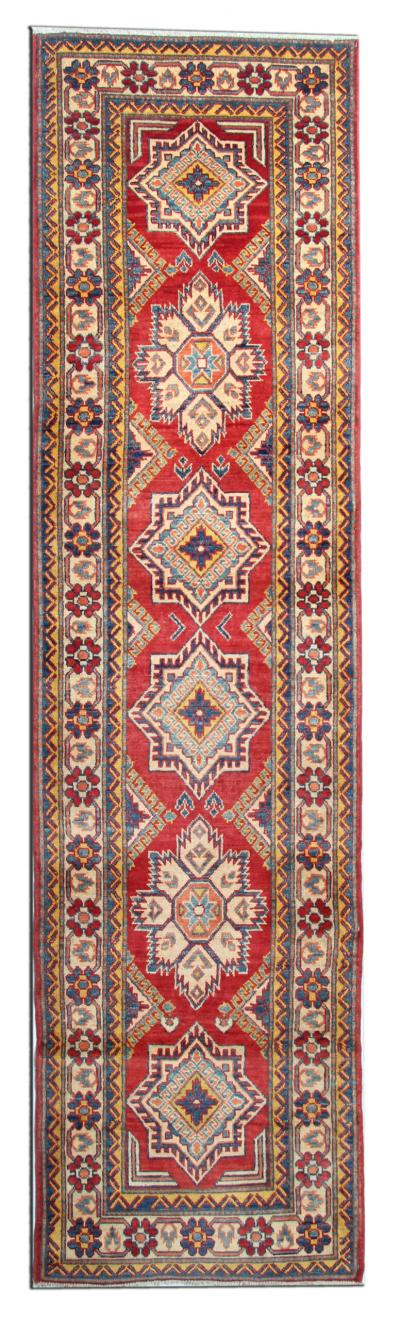 Handwoven Afghan Kazak Runner Rug Traditional Red Wool Oriental Carpet