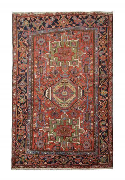 Handwoven Antique Persian Heriz Rug Oriental Wool Tribal Rug