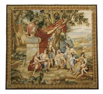 Handwoven Vintage Aubusson Tapestry Wall Hanging Needlepoint