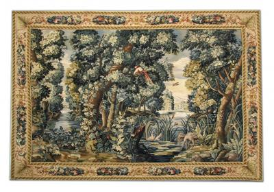 Handwoven Vintage Chinese Tapestry French Style Needlepoint Wall Hanging