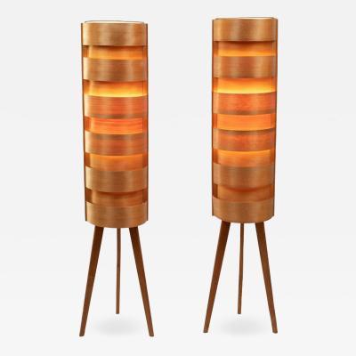 Hans Agne Jakobsson 1960s Hans Agne Jakobsson Wood Tripod Floor Lamps for AB Ellysett