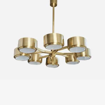 Hans Agne Jakobsson 493 8 Chandelier by Hans Agne Jakobsson in Brass and Glass