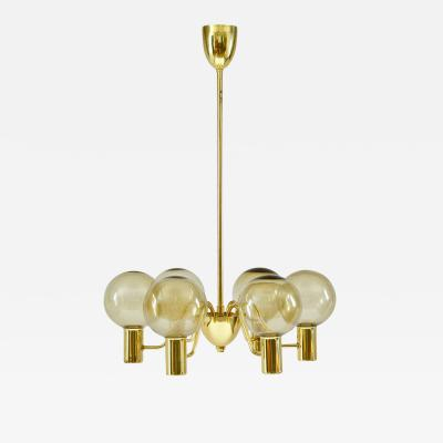 Hans Agne Jakobsson Chandelier in Brass and Glass by Hans Agne Jakobsson