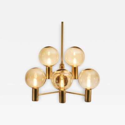 Hans Agne Jakobsson Hans Agne Jakobsson Brass Wall Lamp with Smoked Glass Shades Sweden 1960s