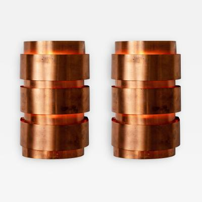 Hans Agne Jakobsson Hans Agne Jakobsson Model V 155 Copper Sconces for Markaryd Sweden