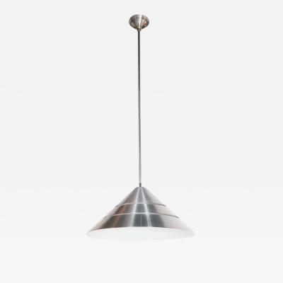 Hans Agne Jakobsson Mid Century Brushed Aluminum Cone Ceiling Pendant by Hans Agne Jakobsson