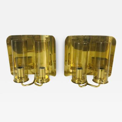 Hans Agne Jakobsson PAIR OF GLASS AND BRASS WALL LAMPS BY HANS AGNE JAKOBSSON FOR AB MARKARYD