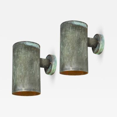 Hans Agne Jakobsson Pair of 1950s Hans Agne Jakobsson Cylindrical Outdoor Sconces