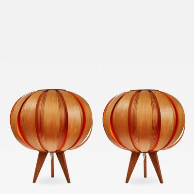 Hans Agne Jakobsson Pair of 1960s Hans Agne Jakobsson Wood Table Lamps for AB Ellysett