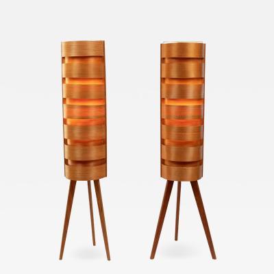 Hans Agne Jakobsson Pair of 1960s Hans Agne Jakobsson Wood Tripod Floor Lamps for AB Ellysett