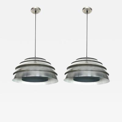 Hans Agne Jakobsson Pair of Aluminum Beehive Pendants by Hans Agne Jakobsson