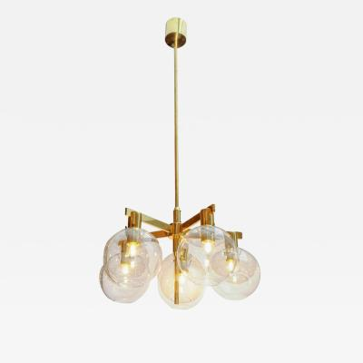 Hans Agne Jakobsson Pair of Brass and Glass Five Lights Chandeliers by Hans Agne Jakobsson