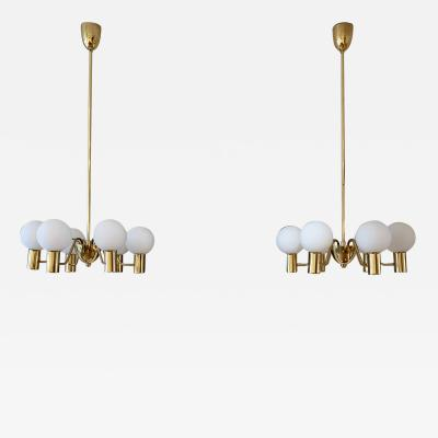 Hans Agne Jakobsson Pair of Brass and Glass Globes Chandeliers by Hans Agne Jakobsson
