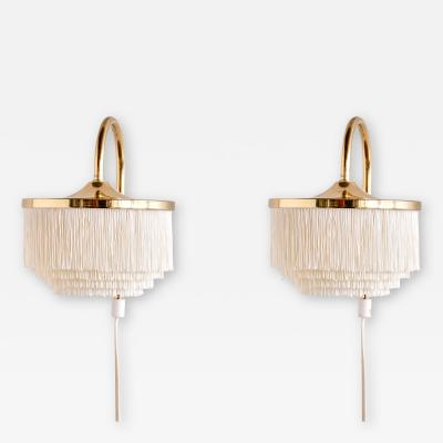 Hans Agne Jakobsson Pair of Hans Agne Jakobsson Brass Wall Lights Model V271 Sweden 1960s