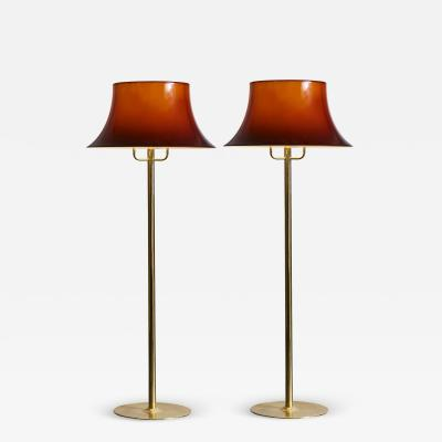 Hans Agne Jakobsson Pair of Hans Agne Jakobsson G 199 Floor Lamps in Brass and Brown Acrylic Shades