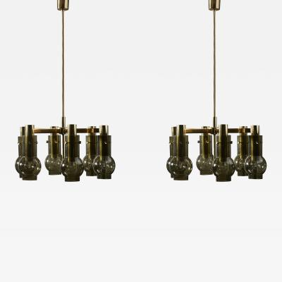 Hans Agne Jakobsson Pair of Hans Agne Jakobsson Six Arms Chandeliers with Green Glass Shades
