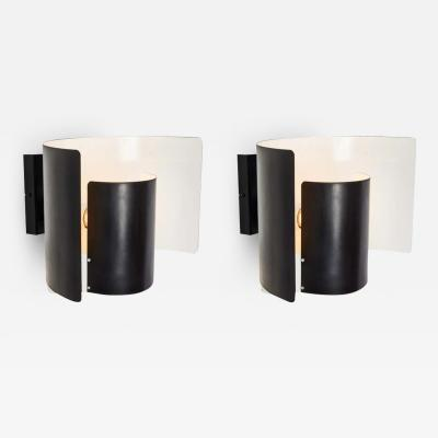 Hans Agne Jakobsson Pair of Large 1970s Bruno Herbst Metal Wall Lamps with Original Label