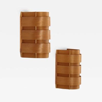 Hans Agne Jakobsson Pair of Scandinavian Sconces V155 in Pine and Copper by Hans Agne Jakobsson