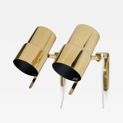 Hans Agne Jakobsson Pair of Scandinavian Wall Lamps in Brass Nicke by Hans Agne Jakobsson