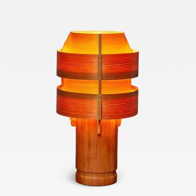 Hans Agne Jakobsson Rare 1960s Hans Agne Jakobsson Model 243 Wood Table Lamp for AB Ellysett