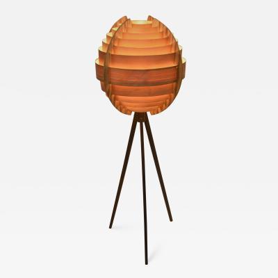 Hans Agne Jakobsson Swedish Pine and Mahogany Floor Lamp Designed by Hans Agne Jakobsson 1960 s