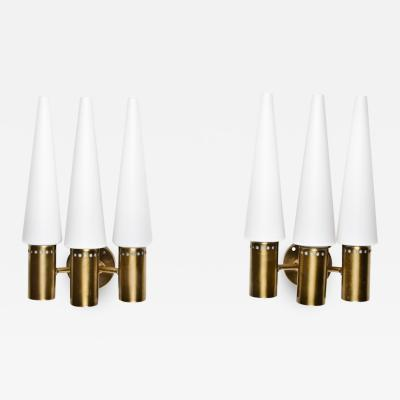 Hans Agne Jakobsson Wall Sconces in Brass and Opaline Glass by Hans Agne Jakobsson