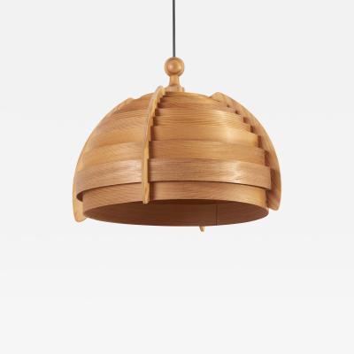 Hans Agne Jakobsson Wooden Pendant Lamp by Hans Agne Jakobsson for AB Ellysett Markaryd Sweden