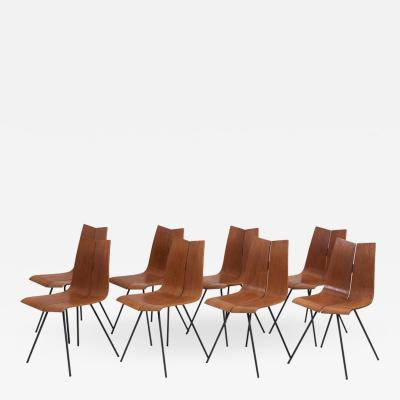Hans Bellmann Set of Eight GA Chairs by Hans Bellmann for Horgen Glarus Switzerland 1950s