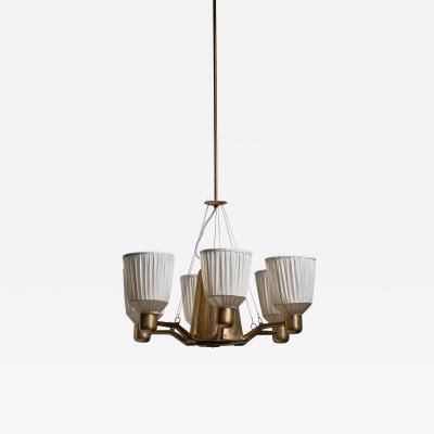 Hans Bergstr m Hans Bergstrom 1940s six armed chandelier
