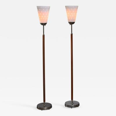 Hans Bergstr m Hans Bergstrom pair of brass and glass floor lamps Sweden