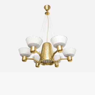 Hans Bergstr m SCANDINAVIAN SIX ARM BRASS CHANDELIER WITH FABRIC SHADES