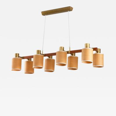 Hans Bergstr m Swedish Midcentury Ceiling Lamp by Hans Bergstr m in Brass Teak and Rattan