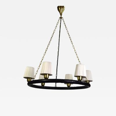 Hans Bergstrom A Swedish Brass and Leather Chandelier by Hans Bergstr m for Atelje Lyktan