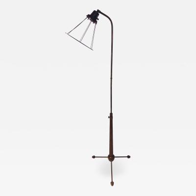 Hans Bergstrom MODERNIST SWEDISH BRASS AND WOOD TRIPOD BASE FLOOR LAMP BY HANS BERGSTROM