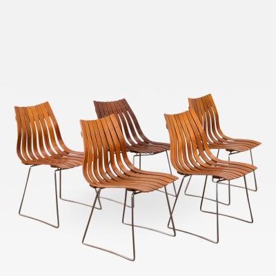 Hans Brattrud Set of Five Hans Brattrud Scandia Dining Chairs