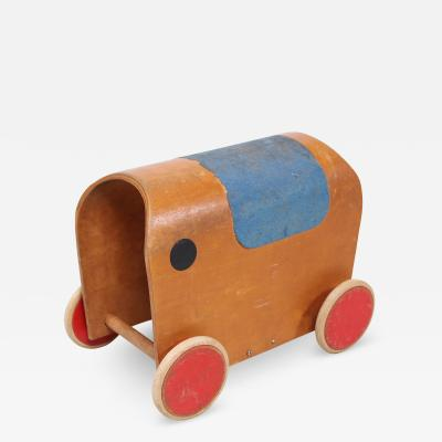 Hans Brockhage Antonio Vitali Kurt Naef Modernist Swiss Handmade Wood Toy Elephant Car 1950s