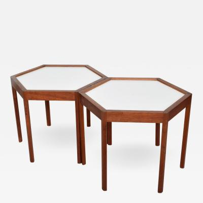 Hans C Andersen Mid Century Danish Modern Pair of Hexagon Side Tables Hans C Andersen