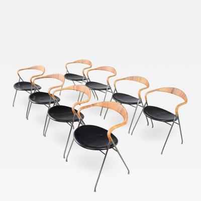 Hans Eichenberger 8 hans eichenberger saffa dining chairs dietiker stendig black vinyl chrome