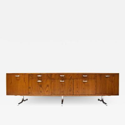 Hans Eichenberger Hans Eichenberger for Stendig Oak Credenza with Stylized Chrome Legs