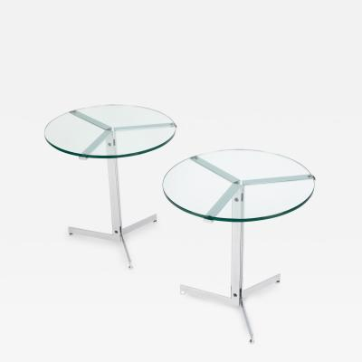 Hans Eichenberger Pair of Hans Eichenberger Alpha side tables in chrome and glass circa 1970s