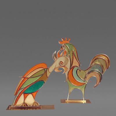 Hans Hagenauer Rare Hans Hagenauer Rooster Parrot Figures