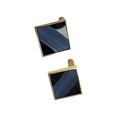 Hans Hansen Hans Hansen 14kt Gold cufflinks with Carved Onyx